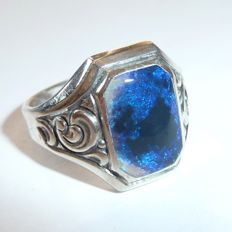 Men's silver (835) ring with new solid opal from Lightning Ridge, Australia, octagon cut - no reserve