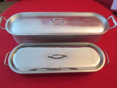 SET of 2 FISH PANS, 1 X average INOX New and 1 X big in aluminum alloy.