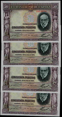 Spain - 4x 50 Pesetas, 22nd July 1935 - No serial - Pick 88 - 4 correlative banknotes