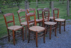 Nine wicker chairs in various designs, approx. 1950, Belgium
