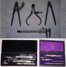 Measuring instruments; Lot with 2 divider boxes with content & 4 iron measuring devices - late 19th/early 20th century.