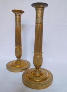 Pair of Empire ormolu candlsticks - France - early 19th century