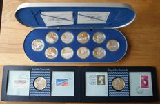 """Canada - coin set """"The first 50 years of powered flight in Canada"""" 20 dollars 1990 (10 different) + 2 different sets of the first Concorde Flight in 1976."""
