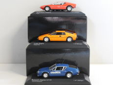 Minichamps - Scale 1/43 - Lot with 3 models: DeTomaso, Lotus & Renault Alpine