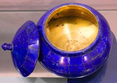 Hand-crafted Royal Blue copper-lined Lapis Lazuli Pot - 130 x 120 mm - 500 gm