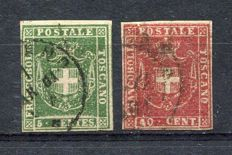 Tuscany - 1860 - Coat of arms - 2 stamps Sassone no. 18 + 21