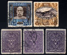 Austria 1908-1932, complete series / high-value