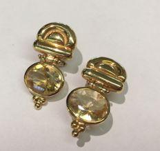 Earrings in 18 kt yellow gold  with citrine quartz - size: 2.7 x 4.3 mm
