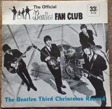 Official Beatles Fan Club 3rd Xmas LYN 948  Flexi Record with Picture Sleeve and Newsletter Dec 1965
