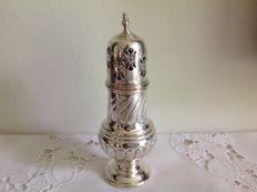 Silver plated sugar shaker with beautifully open worked cap and decorated belly.