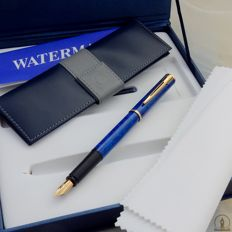 Waterman Apostrophe Vulpen | Marble Blue Lacquer GT | New Old Stock - Mint Conditie