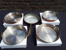 Set of 5 identical pans - red copper / stainless handmade - 18cm
