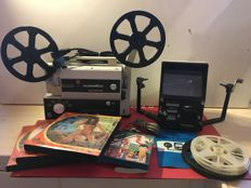 Eumig 820 Sonomatic 8mm projector & Tacnon TE-5 movie editor + 5 8mm films, age unknown
