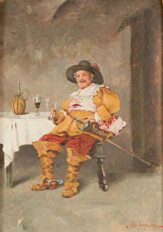 19th Century italian oil painting Musketeer smoking a pipe