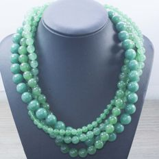 925/1000 silver – Four-strand green jade necklace – Length: 45 cm