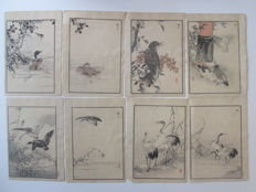 Lot of eight woodcuts by Kono Bairei (1844-1895) - Japan - 1884.