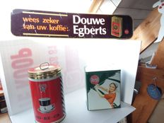 Plastic Douwe Egberts advertising sign, Rombouts tins, and a Persil pot - The Netherlands - 1990/1995.