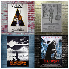 4 Cult Film Posters  - A Clockwork Orange - Taxi Driver - Wednesday - The Crow - Size: 70x100 CM