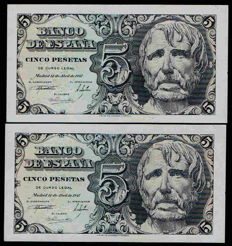 Spain - 2x 5 pesetas, 12th April 1947 - Series B - Pick 134a - Correlative pair