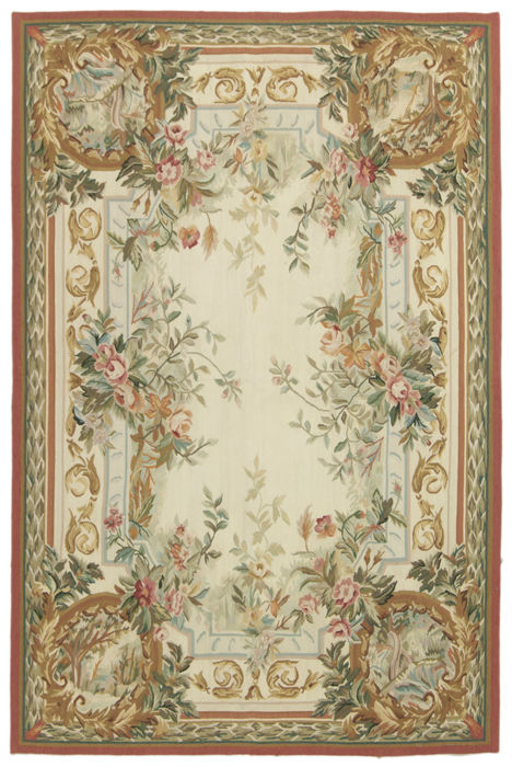 Wonderful Extra Fine Aubusson – very valuable – floral pattern – 100% HANDMADE – dimensions: 181 x 120 cm – Galleria Farah 1970