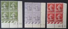 France 1931 - Caisse d'Amortissement series, Blocks of 4 with dated corners, signed Cérès with certificate - Yvert no. 275/277