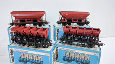 Märklin H0 - 4631/4635 - Two side-unloaders and two tipper-wagons of the DB