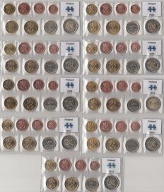 Finland – Year sets of Euro coins from 2005 through 2013, complete