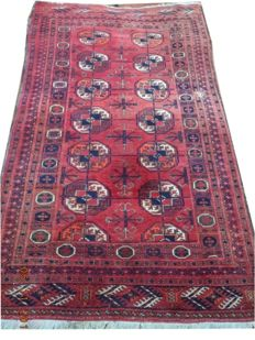 collectible Tekke Bokhara Russian with wool wool hand knotted carpet 189cmx101cm.