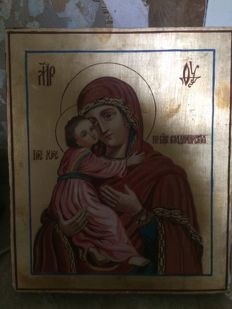 20th century ortodox russian icon of Vladimir Mother of God hand painted