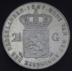 The Netherlands – 2½ guilders, 1847, William II – silver