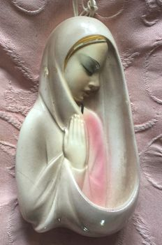 Madonna, airbrushed majolica plaque
