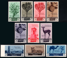 Italian Colonies, Libya, 1932 - 6th Tripoli International Fair - Luxury proofs - Complete series of 10 stamps.