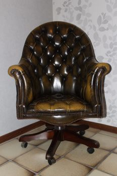 Victorian style leather office chair - United Kingdom, late 20th century