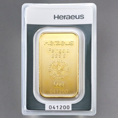 Heraeus 50 grams 999 gold bullion in blister - with certificate and serial number