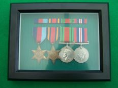 WW2 Framed Set of 4 British Medals, Including the Burma Star c/w Ribbon Bar