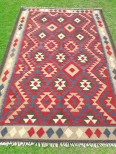 Fine Quality Afghan Maimana Hand Made Lamb Wool Kilim and Double Face Desgin -  245 x 164 cm - 8.0 x 5.4 Feet