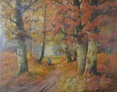 M Bandouch. (20th century) - A woodland scene with figure in autumn.