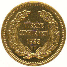 Turkey – 100 Kurush 1923/87 'Ataturk' – gold