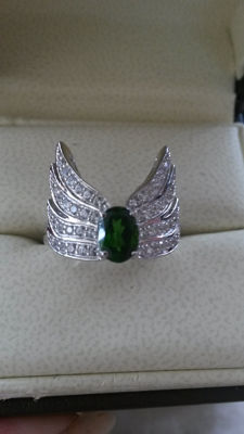 Vintage Art Deco design Russian Chrome Diopside 925 0.90cts Coctail ring. Vivid Green No Reserve