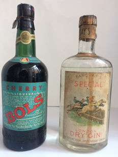 Cherry Liqueur by Lucas Bols - Bottled 1950s & London Dry Gin by Farquay's - Bottled 1930s