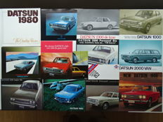 1968 - 1982 - DATSUN 280 ZX, 1600, 1800, 2000 Van, 2400 Super Six, 200 L Hardtop, 220C, Cherry, Sunny, Laurel, etc - mixed lot of 14 sales brochures & leaflets