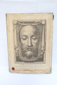 "Vatican rare large relic 19th century ""Veil of Veronica sudarium"", Holy Face of Jesus Christ."