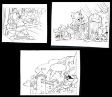 Nicholson, Ray - 3 Original illustrations - Tom en Jerry - Het gouden wonder - (1992)