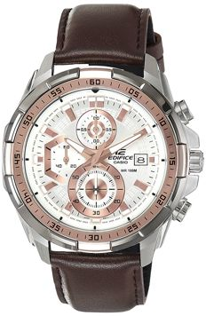 Casio – Edifice Chronograph / Date watch – Water Resistant to 100 m – Brown leather strap