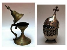 Lot of an old antique bronze burner and a home table vigil lamp - early 20th century