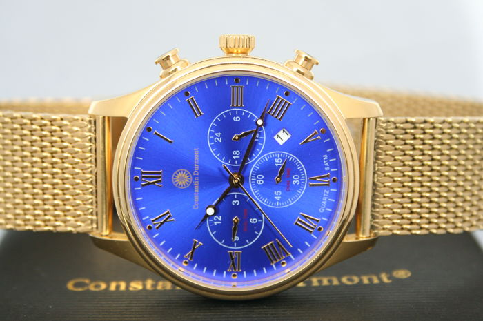 constantin durmont ashford gold blue mens wristwatch