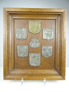 Seven metal nameplates in wooden frame - the Netherlands - 18th century and later
