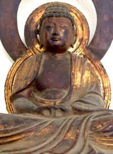 Very old large gilded wooden Buddha statue (38cm!) - Japan - ca. 1750