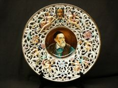 Capodimonte -beautiful large tray - dish with ajour, relief and portrait