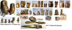 Great collection of 34  Pewter and brass Owl figurines.
